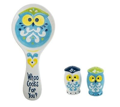Boston Warehouse Owl Salt and Pepper Shakers and Spoon Rest Set