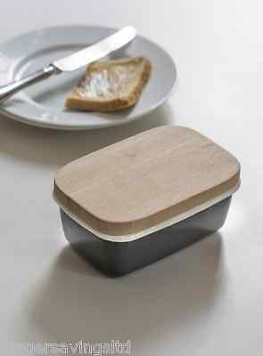 Garden Trading Rustic Enamel Butter Dish Tray With Beech Lid - Charcoal
