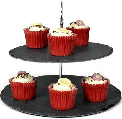 Zodiac 2 Tier Natural Slate Cake Display Stand - 30cm Diameter With Soft Feet