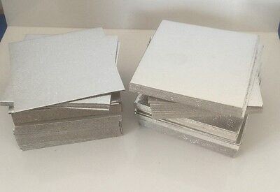 "100 X 3"" INCH (7.5cm) SQUARE SILVER Cake THIN Cards Wedding  Cut Edge Boards"
