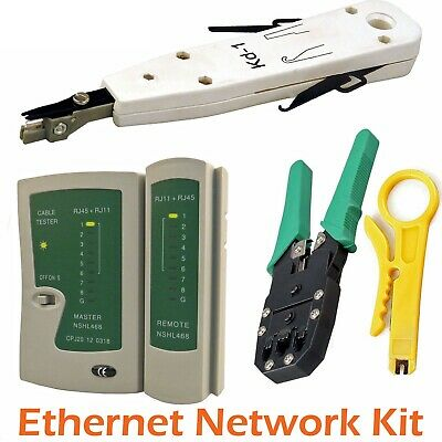 Ethernet Network Kit RJ45 RJ11 Cat5e LAN Cable Tester Cutter Crimping Punch Tool