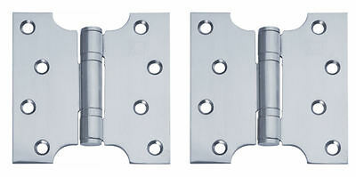 "Polished Stainless Steel Parliament Door Hinges Button Tipped 4 x 2 x 4"" +Screws"