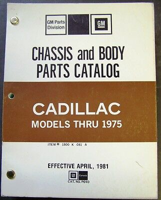 1960-75 GM Cadillac Chassis-Body Factory Parts Catalog