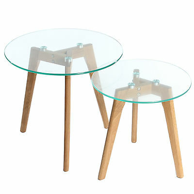 Tempered Glass Table Set Solid Oak Legs Round Coffee Nest Tables Charles Jacobs