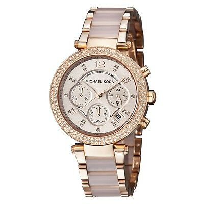 New Michael Kors Parker MK5896 Blush Rose Gold Chronograph Women's Crystal Watch