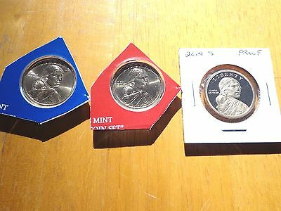 2014 P D S Sacagawea Dollar Proof Native American 3 Coin Set Sealed Mint Cello