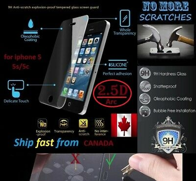 2X 2.5D 9H Premium Tempered Glass iphone 5 5s 5C Screen Protector cover iphone5