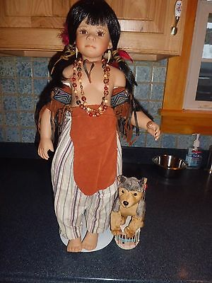 "Kaye Wiggs Little Feather 24"" tall porcelain doll wcoa/1250/2500 free shipping"