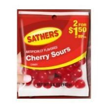 Sathers Cherry Sours Candy, 3.6 Ounce -- 12 per case.