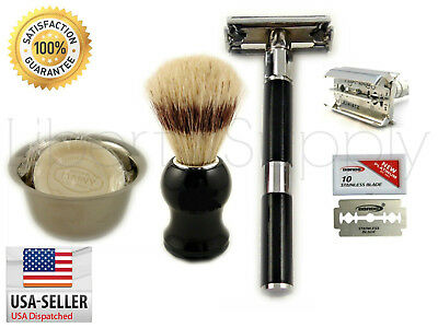 5PC Luxury Wet Shaving Gift Set Kit Double Edge Safety Razor, Pro Shaving Brush