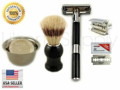 5PC Luxury Wet Shaving Gift Set Kit Double Edge Safety Razor, Pro Shaving Sale