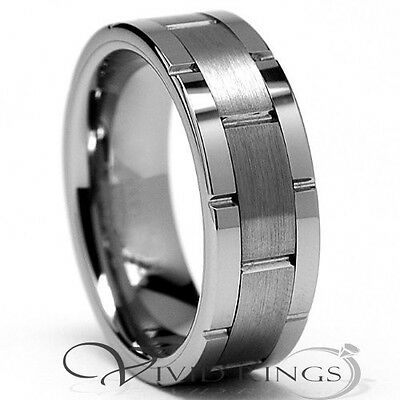 Mens Tungsten Carbide Wedding Band Grooves Ring - 8MM - Size 7.5  to 14.5