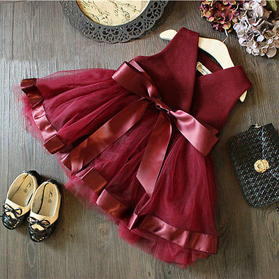 Princess Baby Girls Party Lace Tulle Gown Formal Wedding Bridesmaid Dresses 2-7Y