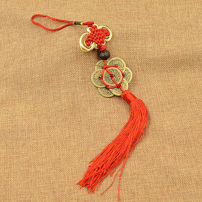 Chinese Feng Shui Knot 6 Lucky Coins Hanging Ornament for Fortune Home Decor 1pc