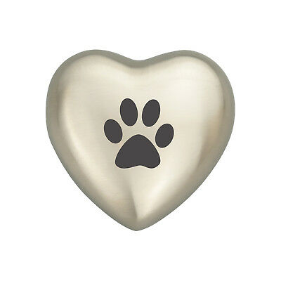 Paw Print on Heart Pet Urn Keepsake for Dog Cat Ashes Cremation