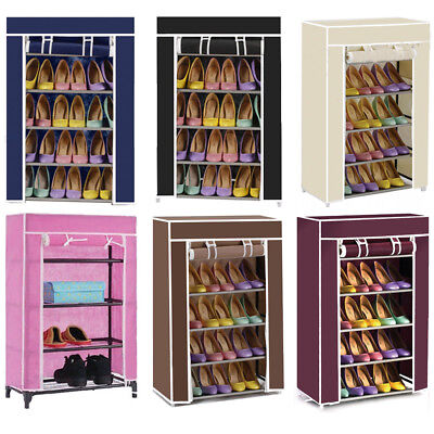 4Tier Canvas Cover Shoe Rack Storage Shelf Cupboard Shoe Organiser Stand 6Colors