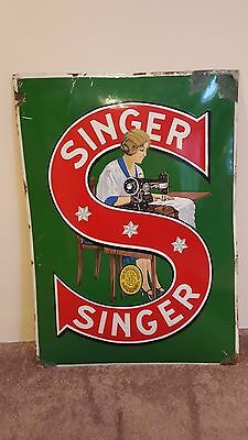 Awesome Rare SINGER SEWING MACHINES Convex Porcelain Sign