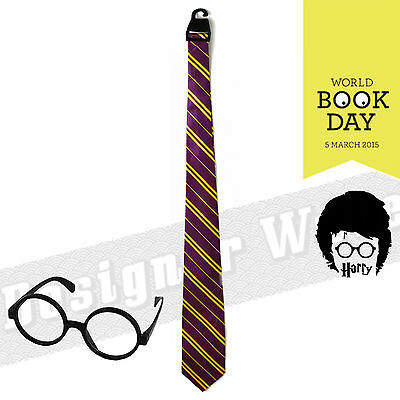 Hogwarts Tie Maroon Yellow Glasses Combo Potter Wizard Theme School