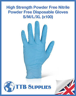 High Strength Powder Free Blue Nitrile Medical Class 1 Disposable Gloves (x100)