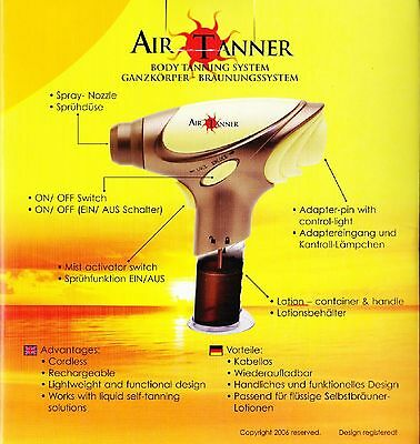 Air Pro tanner TANNING KIT gives a sun less glow home self fake false SPRAY TAN