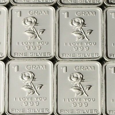 Lot 30 X 1 Gram .999  Fine Pure Silver Bar Bullion / Rose - I love U  WPT446 oz