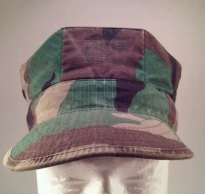 USMC Woodland Camouflage Fatigue Cap Utility Cover 8 Pointed Cap USA Small
