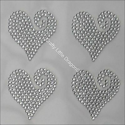 6 x Filled Hearts Clear Rhinestone Diamante Stick on Self Adhesive GEMS Diamonte