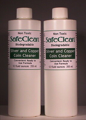 2X! New! SafeClean Coin Cleaner for Silver & Copper Coins. 12 fl. ounces/355 ml.