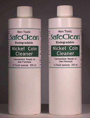 2X! New! SafeClean Coin Cleaner for Modern Nickel Coins. 12 fl. ounces. 355 ml.