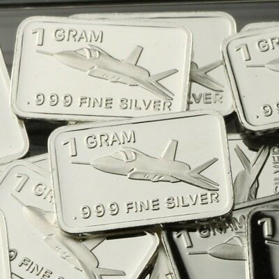 Lot Lot of 30 X 1 Gram  .999  Fine Silver Bar Bullion  / F-35 Fighter  WPT452 oz