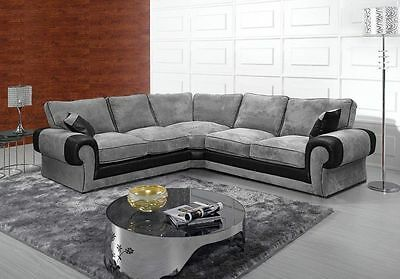 New Tango Fabric Charcoal Corner Sofa Grey/black Suite Tangent Jumbo Cord