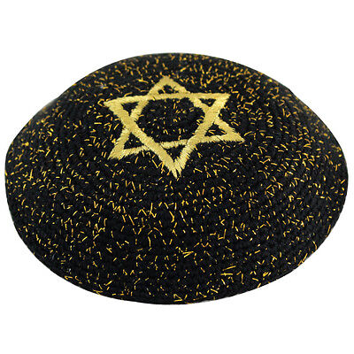 Knitted Black Gold Magen David Star Kippah Yarmulke Yamaka Judaica Israel 17cm