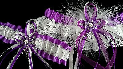 PLUS SIZE PURPLE GARTER SET With Silver and White KEEP TOSS Prom Wedding Bridal