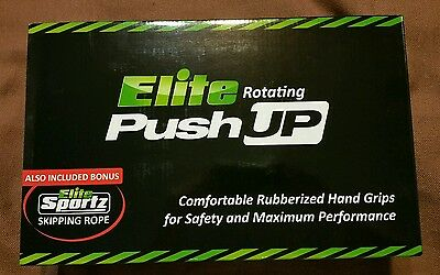 Elite Rotating Push Up With Skipping Rope ~ Rubberized Hand Grips