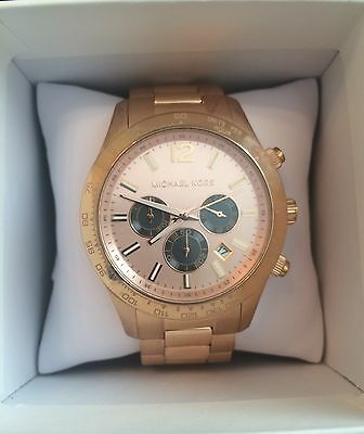 Authentic MK Michael Kors Rose-Gold Chronograph Watch – Men's/Unisex