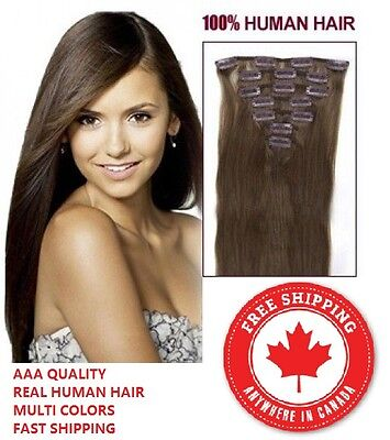 Premium 100% Real Clip In Remy Human Hair Extensions Full Head Ships from CANADA