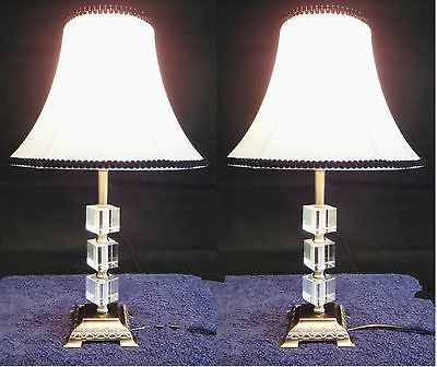 PAIR of New Vintage Traditional Antique Style Table Bedside LAMPS with Crystal