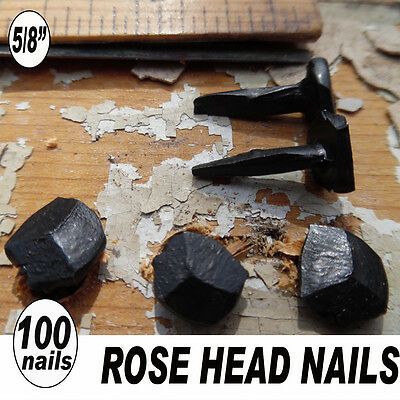 "5/8"" ROSE HEAD NAILS vintage lot wrought iron rustic vintage antique look-100"