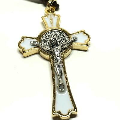 """St. Benedict 2"""" 1/4 Crucifix - Exorcism- Cross - Blessed By Pope - San Benito"""