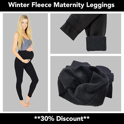 Womens Ladies Maternity Winter Fleece Thermal Warm Thick Full Length Leggings