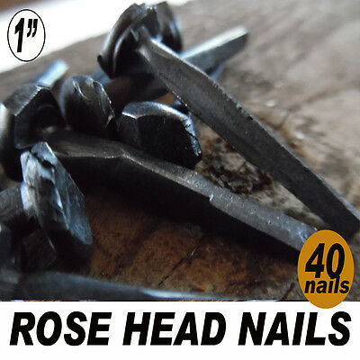 """(40)  1"""" (2d) Rose Head nails - Wrought square head forged iron-antique vintage"""