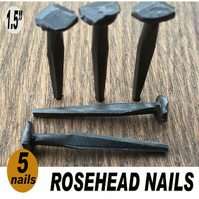 "(5)  1 1/2"" ROSE HEAD nails in lot square wrought iron antique rustic look 1.5"""
