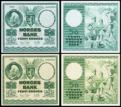 !copy! 2 Norway 50 Kroner: 1957 1958 Banknotes !not Real!