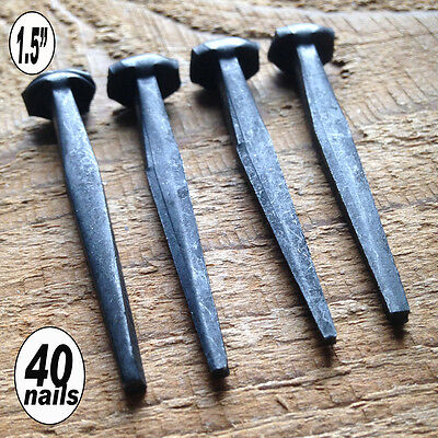"(40)  ROSE WROUGHT HEAD 1.5"" Nails - Rustic vintage forged iron historic nails"