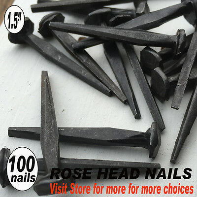 (100)  ROSE HEAD Nails - Authentic looking vintage wrought historic forged nails