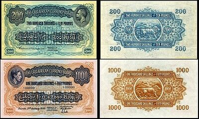 !copy! East Africa 200 Shillings 1921,1000 Shillings 1939 Banknotes Not Real!