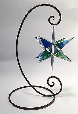 7 In Stained Glass Star With Stand!!  Moravian Style - Handmade Suncatcher !!