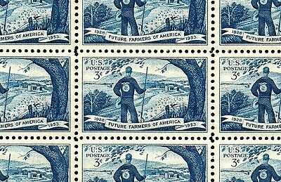 1953 - FUTURE FARMERS - Full Mint -MNH- Sheet of 50 Vintage U.S. Postage Stamps