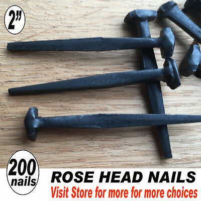 "(200)  2"" ROSE HEAD - Historic Restoration - Wrought Head Iron Nails -Rustic"