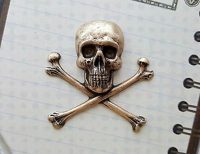 XLarge Oxidized Brass Skull And Crossbones Stamping (1) - BOFFA4123